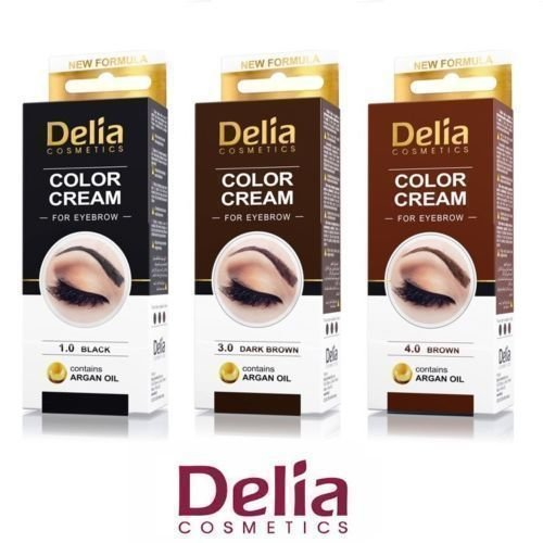 3 Count X DELIA HENNA / COLOR CREAM EYEBROW PROFESSIONAL TINT KIT SET - Black, Brown and Dark Brown ()