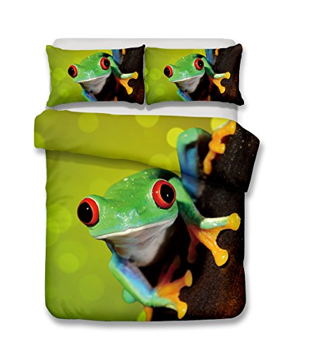 adorable frog print duvet cover set