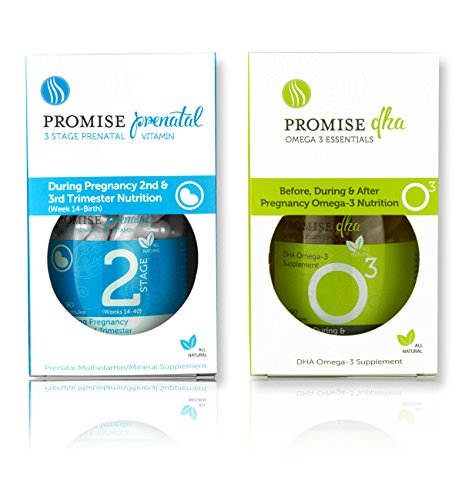 Promise Stage 2 Prenatal Vitamins and Promise DHA (1 Month Supply) - Once Daily Pregnancy Multivitamin Supplement for Mom and Baby- The Perfect Nutrition for Your 2nd and 3rd Trimester.