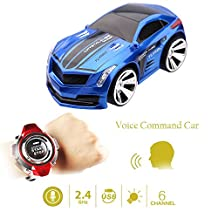 Buenotoys Rechargeable Voice Control Toy Vechile Race Car Voice Command by Smart Watch Creative Voice-activated Remote Control RC Car ?Blue?