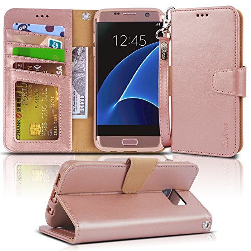 Galaxy s7 Edge Case, Arae [Wrist Strap] Flip Folio [Kickstand Feature] PU Leather Wallet case with ID&Credit Card Pockets for Samsung Galaxy S7 Edge (Rosegold)