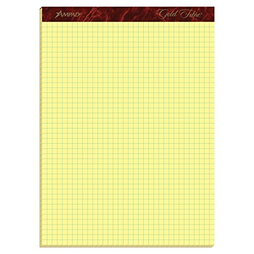 Ampad Gold Fibre Quadrille Ruled Pads, Premium 16 Pound Paper, Legal Size, Canary Yellow Paper, 50 Sheets per Pad (22-143)
