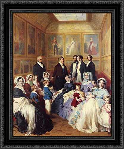 Queen Victoria and Prince Albert with the Family of King Louis Philippe at the Chateau D'Eu 20x23 Black Ornate Wood Framed Canvas Art by Winterhalter, Franz Xavier ()
