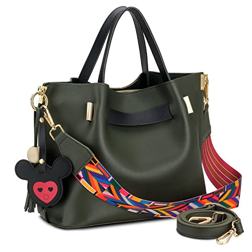 Bagerly Women Top Handle Satchel Handbag 2017 Fashion PU Leather Shoulder Bucket Bag Crossbody Bag (Green)