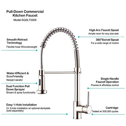 Kitchen SOQO Modern Commercial One-Handle Kitchen Sink Faucet, Pull Down Adjustable Kitchen Faucet Dual Function with Shower… modern sink faucets