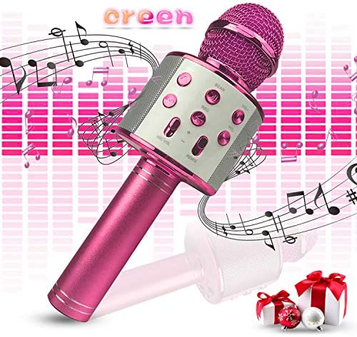 Creen Wireless Bluetooth Karaoke Microphone Toys for 4-11 Age Old Boys Girls Toy for 5-12 Year Old Girls Birthday Home Party Gifts for Age 13 14 15 Karaoke Machine for Adults (Pink)