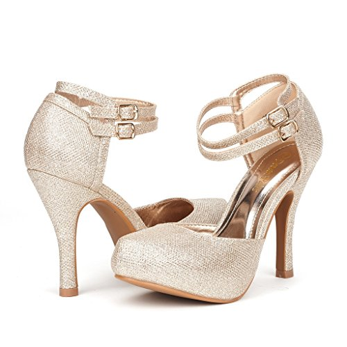 DREAM PAIRS OFFICE-02 Women's Classy Mary Jane Double Ankle Strap Almond Toe High Heel Pumps New Gold Size 9.5 ()