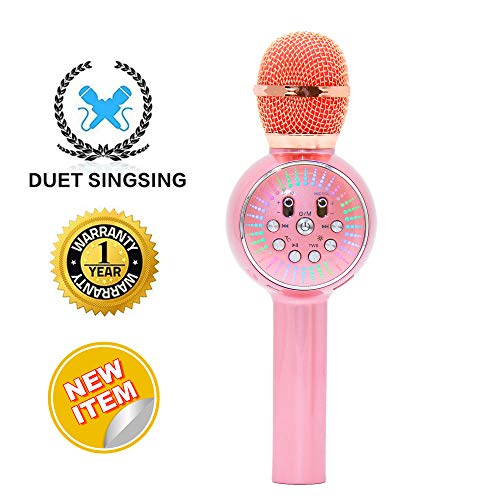 tooth Karaoke Microphone with Ambient LED light SANOVO 3-in-1 Portable Hand Speaker for iPhone/Android/iPad/Sony,PC and All Smartphone (Rose Gold) ()