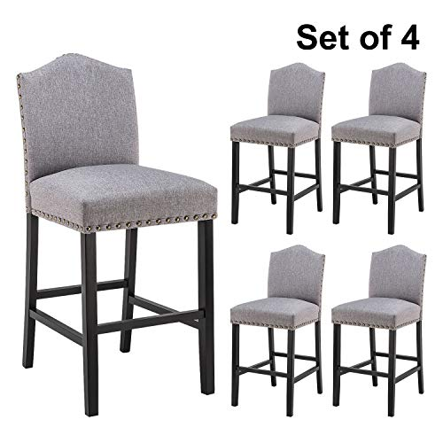 YEEFY Fabric Bar Height Stools with Solid Wood Legs and Nailed Trim 30