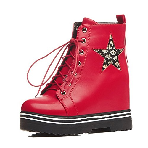 Allhqfashion Women's Lace-up Closed Round Toe High-Heels PU Low-top Boots Red Vnc0W