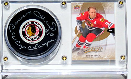 Bobby Hull Signed Chicago Blackhawks NHL Puck and Stanley Cup Inscription & Display Case & Card - PSA DNA COA Authenticated -