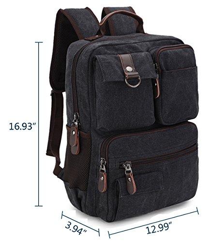 Zaino Casual Canvas Retro Retro 14 pollici computer portatile, borsa Outdoor Scuola Unisex Hiking Bags Zaino viaggio Daypack College per uomini e donne da Ravuo Nero