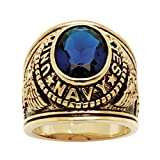 Palm Beach Jewelry Men's 14K Yellow Gold Plated Antiqued Oval Cut Simulated Blue Sapphire United States Navy Ring Size 10