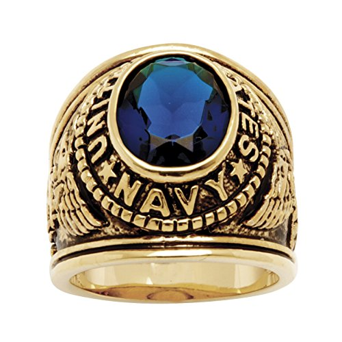 Palm Beach Jewelry Men's 14K Yellow Gold-Plated Antiqued Oval Cut Simulated Blue Sapphire United States Navy Ring Size 8