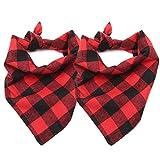 ASOCEA Pet Dog Bandana Triangle Bibs Scarf, Double-Cotton Plaid Printing Kerchief Set for Medium Size Dogs 2 Pcs