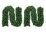 UHeng 2 X 9ft Christmas Wreath Garland Green Artificial Fir Vine Thick Floral Decor