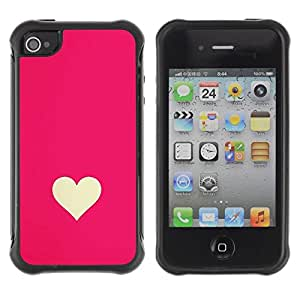 Hypernova Defender Series TPU protection Cas Case Coque pour Apple iPhone 4 / iPhone 4S [Minimaliste Rose Blanc Valentines]