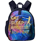 Eat Sleep Breathe Softball Softball Player Print Lightweight Toddler Backpack Shoulder Bag School Backpack For Kids