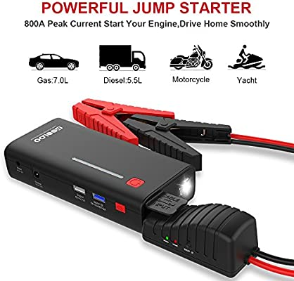 GOOLOO 800A Peak 18000mAh SuperSafe Car Jump Starter with USB Quick Charge 30 Up to 70L Gas or 55L