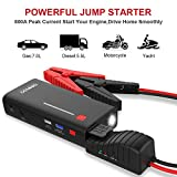 GOOLOO 800A Peak 18000mAh Car Jump Starter with USB Quick Charge 3.0 (Up to 7.0L Gas or 5.5L Diesel Engine), 12V Portable Power Pack Auto Battery Booster Phone Charger Built-in LED Light