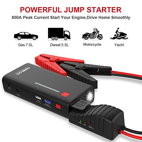 GOOLOO 800A Peak SuperSafe Car Starter with Quick Charge 3.0 Power Booster LED Light