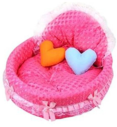 Pet Bed Small Coral Fleece Lace Heart-Shapes Princess Cat Dog (Rose)