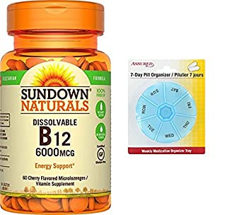 Sundown Naturals Sublingual 6000 de vitamina B-12 mcg, 60 tabletas con gratis 7