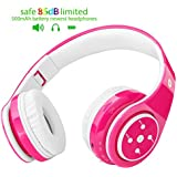 2018 New! Bluetooth Headphones for Kids, 85db Volume Limited, up to 6-8 Hours Play, Stereo Sound, SD Card Slot, Over-Ear and Build-in Mic Wireless/Wired Headphones for Boys Girls(Pink)