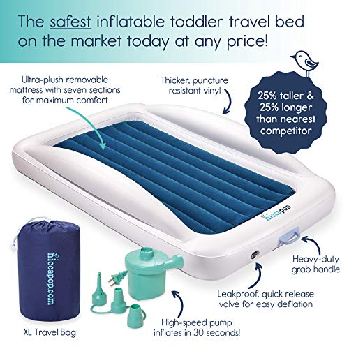 hiccapop Inflatable Toddler Travel Bed with Safety Bumpers | Portable Blow Up Mattress for Kids with Built in Bed Rail - Navy Blue