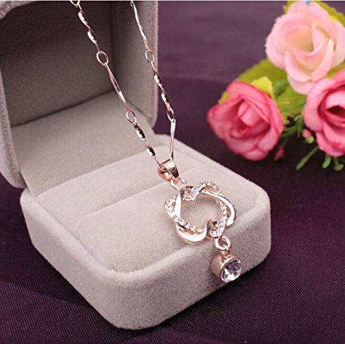 Stylish Rose Gold Silver Cubic Twisted Interlocking Double Heart Rhinestone Pendant Necklace for Women Ladies Girls Festival Birthday Christmas Gifts (Rose Gold) -