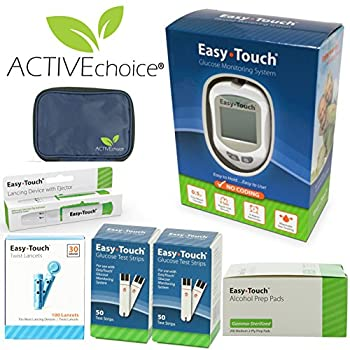 ACTIVEchoice Easy Touch Complete Diabetes Blood Glucose Testing Kit, Easy Touch METER, 100 Easy Touch Test Strips, 100 Easy Touch Lancets, 200 Easy Touch Alcohol Prep Pads, Easy Touch Lancing Device