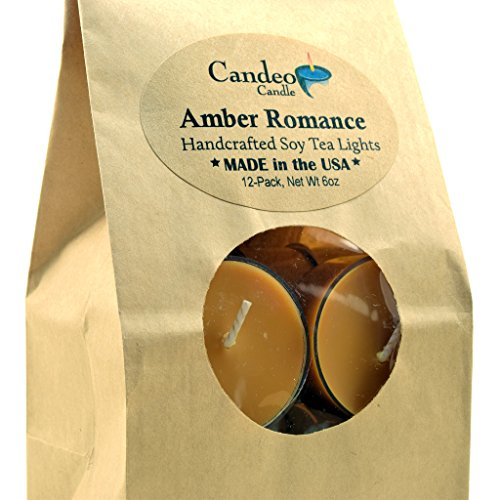 Amber Romance, Scented Soy Tealights, 12 Pack Clear Cup Candles (Amber Cup)