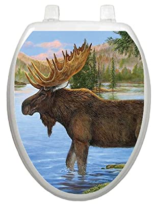 Toilet Tattoos, Toilet Seat Cover Decal, Majestic Moose, Size Elongated