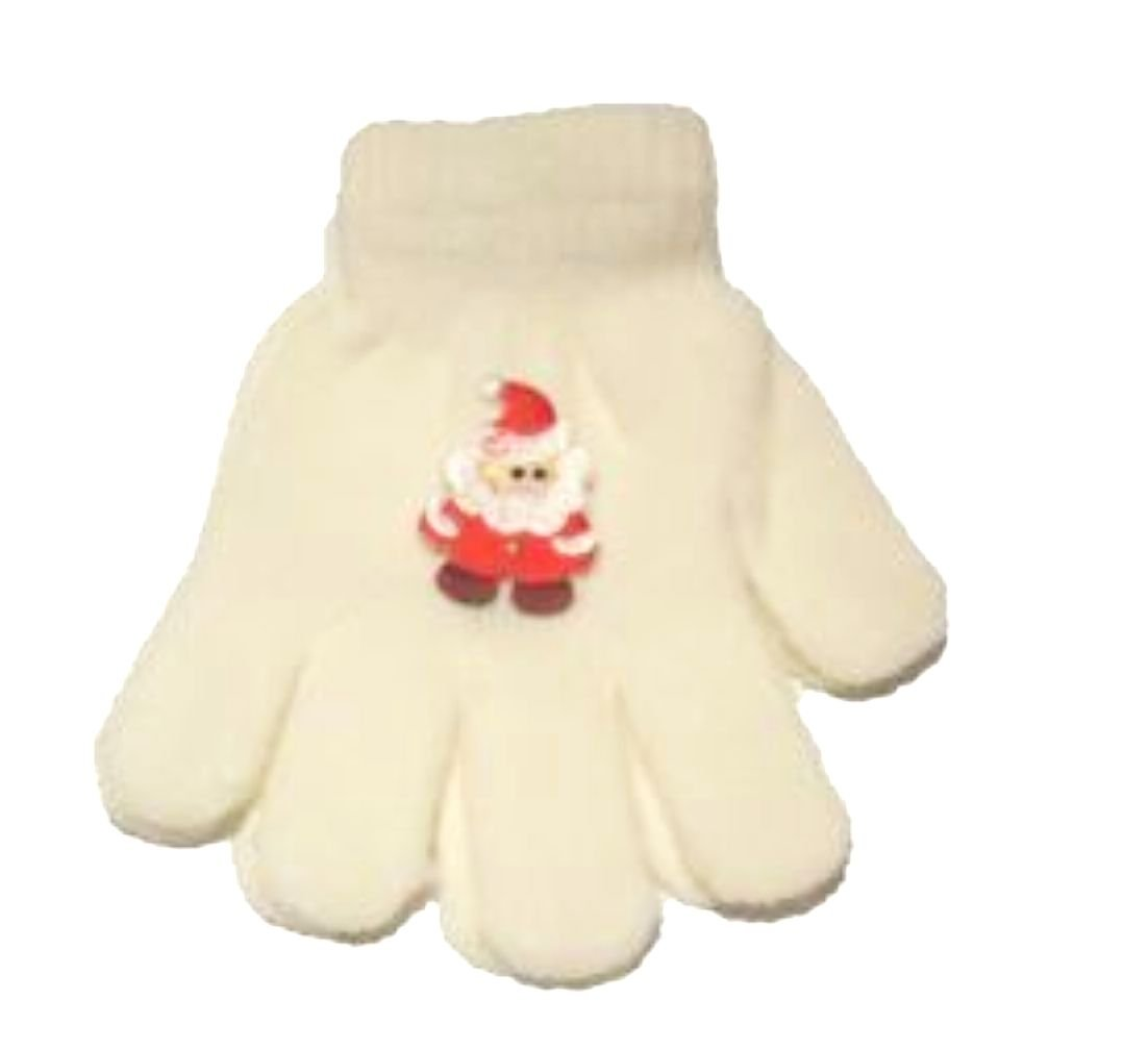 White Stretch Magic Gloves with Santa for Children Ages 1-4 Years