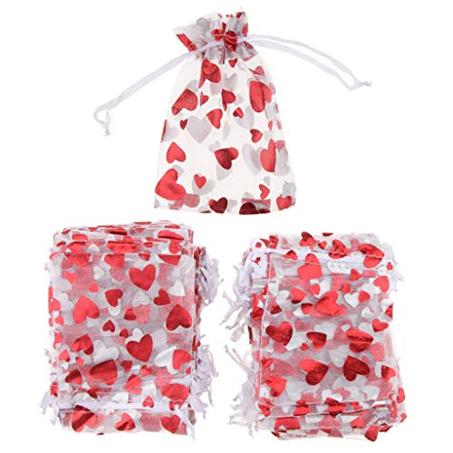 100pcs Love Heart Gift Bags Candy Bags Jewelry Packaging Wedding Gift Pouch Drawstring Bags for Valentines Day Wedding Festival Party Supply