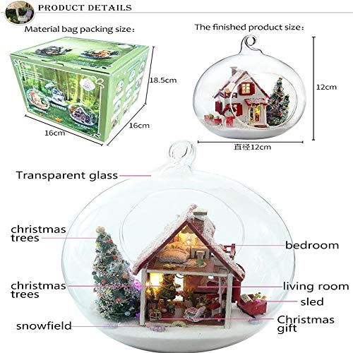 (Gbell Cute Room Dollhouse Miniature DIY House Kit, Glass Ball Shape Cabin DIY Christmas Theme Mini Cottage Pretend Playhouse LED Light 3D Models Toys for Toddlers (Colored/Ship from US))