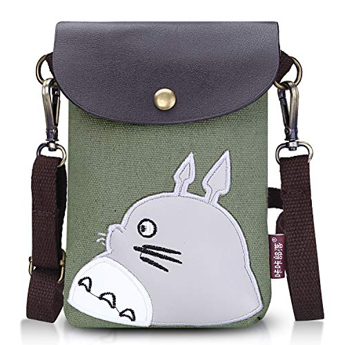 """Abaddon Canvas Small Cute Crossbody Cell Wallet Bag Phone Purse with Shoulder Strap (green totoro) 18"""" L x 13"""" W x 2""""H"""