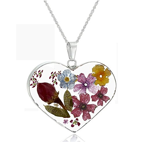 Silver Multicolored Rose Pressed-Flower Heart Pendant Necklace, 18