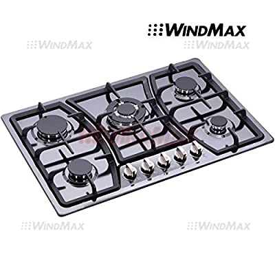 "WindMax® 30"" Black Titanium Stainless Steel 5 Burner Built-In Stoves Gas Cooktop Cooker"