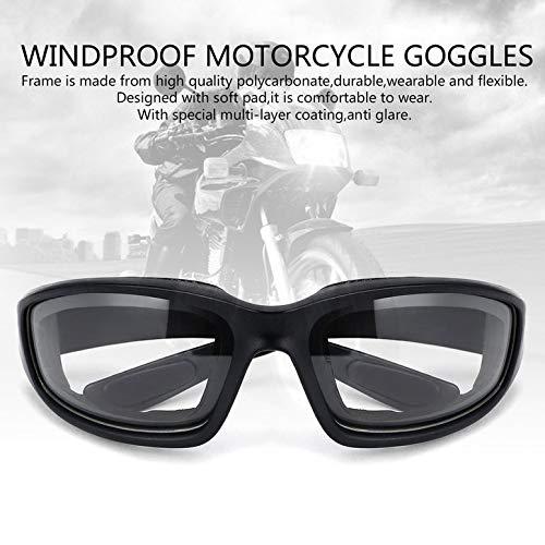 ArgoBar Occhiali da Moto Occhiali da Moto Antivento Ideali per i Piloti di Motociclisti Colore: Nero