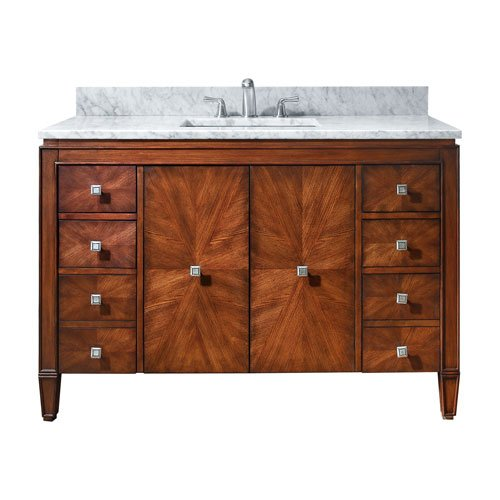 """well-wreapped Avanity Brentwood 49"""" vanity with Carrera White marble top in New Walnut finish"""