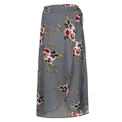 Sunenjoy Jupe Femme t Fleurs Impression Jupe Longue Taille Haute Casual Jupe Mousseline Irrgulier Split Jupe Plage Mode Chic lgant Gris