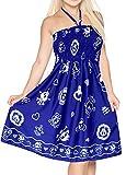 LA LEELA Soft  Printed  Maxi Tube Halter Dresses  Womens Royal Blue 814 One Size