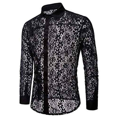 Sweater Vest Performance V-neck (Sumen Men Hot Sexy Clubwear See Through Long Sleeves Full Lace Dress Shirt)