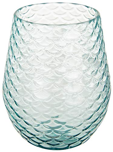 Tropix 19 oz. Mermaid Wishes Scales Stemless Wine Goblet One Size Aqua blue