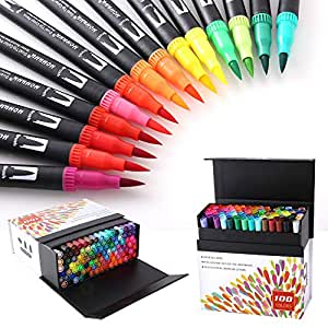 100 Colors Dual Tip Brush Pens with Fine Liners Brush Tip for Coloring Books, Drawing, Painting,Calligraphy Bullet Journal HO-100B