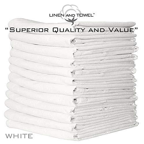 Linen and Towel Flour Sack Dish Towels - 12 Pack 100% White Ring Spun Cotton Kitchen Dish Towels - Large 33
