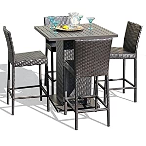 TK Classics NAPA-PUB-WITHBACK-4 5 Piece Napa Pub Table Set with Barstools Outdoor Wicker Patio Furniture