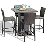 TK Classics NAPA-PUB-WITHBACK-4 5 Piece Napa Pub Table Set with Barstools Outdoor Wicker Patio Furniture For Sale