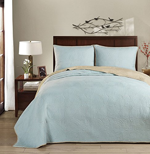 Brielle Wave Reversible Quilt Set, Twin, Seafoam/Light Grey ()